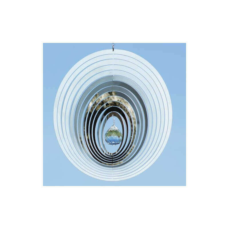 Edelstahlwindspiel Kristall OVAL 20 cm