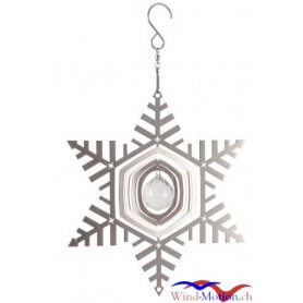 Edelstahlwindspiel Schneeflocke 20 cm