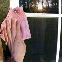 Fensterrähmen reinigen mit putzstein